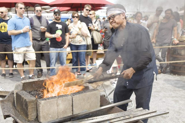 Forging metal at Smorgasburg.